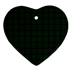 Dark Green Weave Heart Ornament (two Sides)