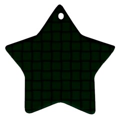 Dark Green Weave Star Ornament (Two Sides)
