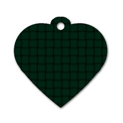 Dark Green Weave Dog Tag Heart (one Sided)