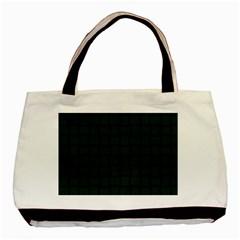 Dark Green Weave Twin-sided Black Tote Bag