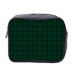 Dark Green Weave Mini Travel Toiletry Bag (Two Sides)