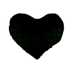Dark Green Weave 16  Premium Heart Shape Cushion