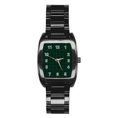 Dark Green Weave Men s Stainless Steel Barrel Analog Watch