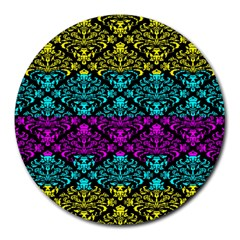Cmyk Damask Flourish Pattern 8  Mouse Pad (Round)