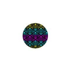 Cmyk Damask Flourish Pattern 1  Mini Button