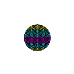 Cmyk Damask Flourish Pattern 1  Mini Button Magnet