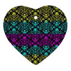 Cmyk Damask Flourish Pattern Heart Ornament