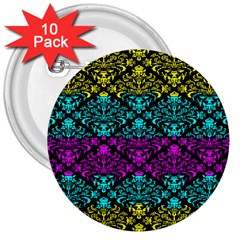 Cmyk Damask Flourish Pattern 3  Button (10 pack)