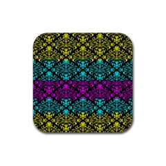 Cmyk Damask Flourish Pattern Drink Coaster (Square)