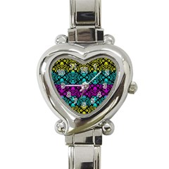 Cmyk Damask Flourish Pattern Heart Italian Charm Watch