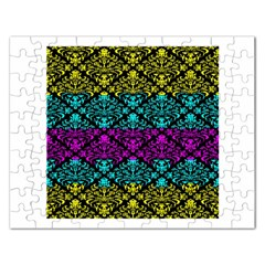 Cmyk Damask Flourish Pattern Jigsaw Puzzle (Rectangle)