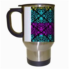 Cmyk Damask Flourish Pattern Travel Mug (White)