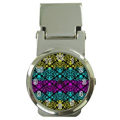 Cmyk Damask Flourish Pattern Money Clip With Watch