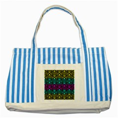 Cmyk Damask Flourish Pattern Blue Striped Tote Bag