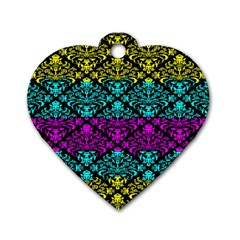 Cmyk Damask Flourish Pattern Dog Tag Heart (two Sided)