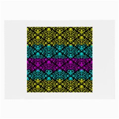 Cmyk Damask Flourish Pattern Glasses Cloth (Large, Two Sided)