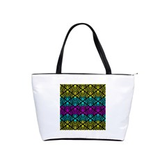 Cmyk Damask Flourish Pattern Large Shoulder Bag