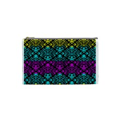 Cmyk Damask Flourish Pattern Cosmetic Bag (Small)
