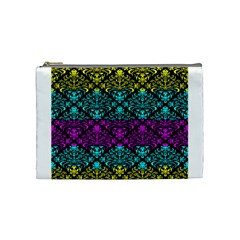 Cmyk Damask Flourish Pattern Cosmetic Bag (Medium)