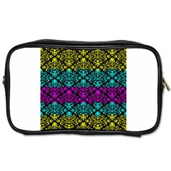 Cmyk Damask Flourish Pattern Travel Toiletry Bag (Two Sides)