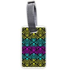 Cmyk Damask Flourish Pattern Luggage Tag (Two Sides)