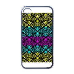 Cmyk Damask Flourish Pattern Apple Iphone 4 Case (black)