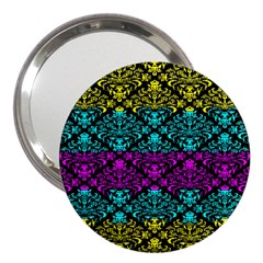 Cmyk Damask Flourish Pattern 3  Handbag Mirror