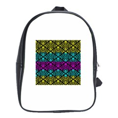 Cmyk Damask Flourish Pattern School Bag (XL)