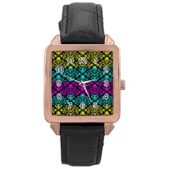 Cmyk Damask Flourish Pattern Rose Gold Leather Watch