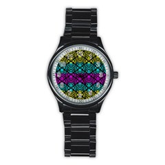 Cmyk Damask Flourish Pattern Sport Metal Watch (Black)