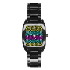 Cmyk Damask Flourish Pattern Men s Stainless Steel Barrel Analog Watch