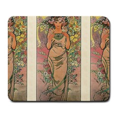 Die Rose By Alfons Mucha 1898 Large Mouse Pad (Rectangle)