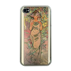 Die Rose By Alfons Mucha 1898 Apple iPhone 4 Case (Clear)