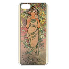 Die Rose By Alfons Mucha 1898 Apple iPhone 5 Seamless Case (White)