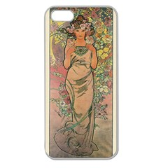 Die Rose By Alfons Mucha 1898 Apple Seamless iPhone 5 Case (Clear)