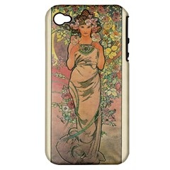Die Rose By Alfons Mucha 1898 Apple iPhone 4/4S Hardshell Case (PC+Silicone)