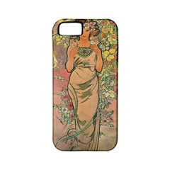 Die Rose By Alfons Mucha 1898 Apple iPhone 5 Classic Hardshell Case (PC+Silicone)