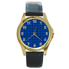 Cobalt Weave Round Metal Watch (Gold Rim)