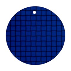 Cobalt Weave Round Ornament (Two Sides)