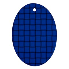 Cobalt Weave Oval Ornament (Two Sides)