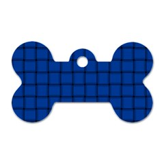 Cobalt Weave Dog Tag Bone (One Sided)