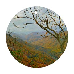 Way Above The Mountains Round Ornament (two Sides)