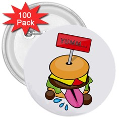 BurgerYUMM 3  Button (100 pack)