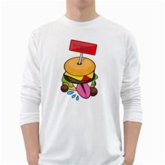 BurgerYUMM Mens' Long Sleeve T-shirt (White)