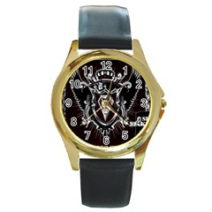 6 Set New Logo Round Metal Watch (Gold Rim)