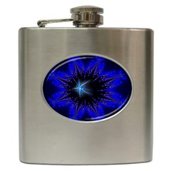 Blue Star Fractal Art Hip Flask