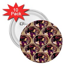 Donna Orechini By Alphonse Mucha 2.25  Button (10 pack)