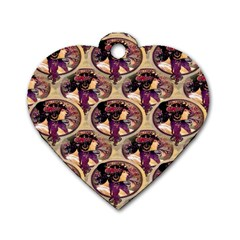 Donna Orechini By Alphonse Mucha Dog Tag Heart (One Sided)