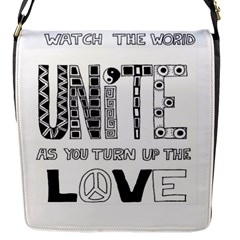 Watch The World Unite As You Turn Up The Love Flap closure messenger bag (Small)