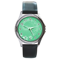 10   Light Green Flowers Round Metal Watch (silver Rim)